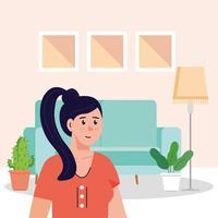 junge Frau in der Wohnzimmerszene