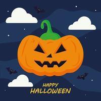 glad halloween med pumpatecknad vektordesign vektor