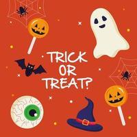 Halloween-Geist und Bonbons mit Trick oder behandeln Textvektorentwurf vektor