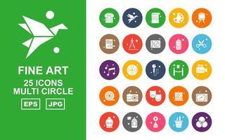 25 Premium Fine Arts Multi Circle Icon Pack vektor