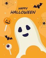 glückliches Halloween mit Geisterkarikaturvektorentwurf vektor