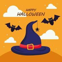 lycklig halloween med häxahattvektordesign vektor