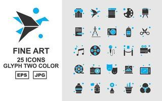 25 Premium Fine Arts Glyph zweifarbiges Icon Pack vektor