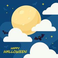 glückliches Halloween mit Fledermauskarikaturen-Vektorentwurf vektor