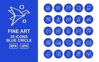 25 Premium Fine Arts Blue Circle Icon Pack vektor