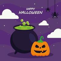 Happy Halloween mit Kürbis Cartoon und Hexenschale Vektor-Design vektor