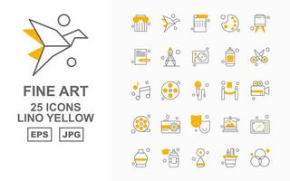 25 Premium Fine Arts Linol Gelb Icon Pack vektor