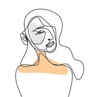 vektor abstrakt trendig illustration av en linje ritning av kvinna.