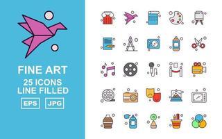 25 Premium Fine Arts Line gefüllt Icon Pack vektor