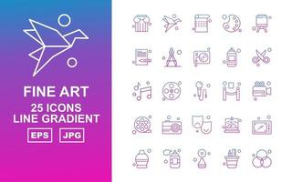 25 Premium Fine Arts Line Farbverlauf Icon Pack vektor