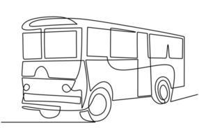einzelne durchgehende Strichzeichnung des Schulbusses. regelmäßig verwendet, um Studenten zu transportieren. vektor