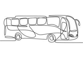einzelne durchgehende Strichzeichnung des Schulbusses. regelmäßig verwendet, um Studenten zu transportieren. zurück zum Schulkonzept lokalisiert auf weißem Hintergrund. Minimalismus Stil. Vektor-Design-Illustration vektor