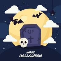 glückliches Halloween mit Grabvektorentwurf vektor