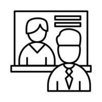 Mitarbeiter Männer mit Board Line Style Icon Vektor Design