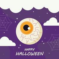 glückliches Halloween mit Augenkarikaturvektorentwurf vektor