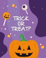 Halloween Kürbis Cartoon mit Trick oder behandeln Text Vektor Design