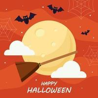 glückliches Halloween mit Hexenbesenvektorentwurf vektor