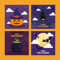 Halloween pumpa spindel och bat karikatyrer vektor design
