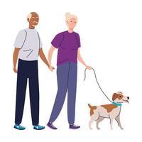 ältere Frau und Mann Cartoons mit Hund Vektor Design