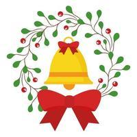 Frohe Weihnachtsglocke in Beeren mit Blattkrone mit Fliege Vektordesign vektor