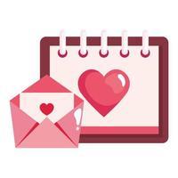 kalender med hjärta och kuvert isolerad ikon vektor
