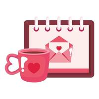 Briefumschlagpost im Kalender mit Tasse Kaffee