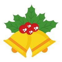 Frohe Weihnachtsglocke mit Beeren und Blätter Vektor-Design vektor