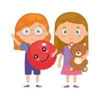 Gruppe kleiner Mädchen mit Teddybär und Ball