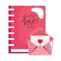 Notizbuch und Umschlag mit Herz lokalisiertem Symbol