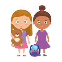 Gruppe kleiner Mädchen mit Teddybär und Schultasche