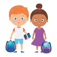 süße kleine Kinder mit Schultasche und Spielzeug