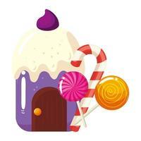 Cupcake-Haus lecker mit Lutschern und Süßigkeiten in Zuckerrohr vektor