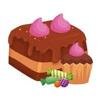 Brownie-Schokolade mit Cupcake und Süßigkeiten vektor