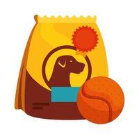 Tasche des Futters für Hund mit Ballspielzeug isolierte Ikone vektor