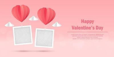 Alla hjärtans dag banner av tom fotoram med hjärta form ballong