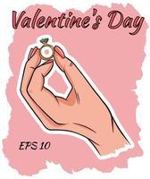 Eine Frauenhand hält einen Ehering. vektor