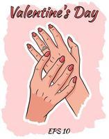 Frauenhände mit einem Ehering. vektor
