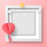 leerer Fotorahmen mit Herzformballon am Himmel, glücklicher Valentinstag vektor