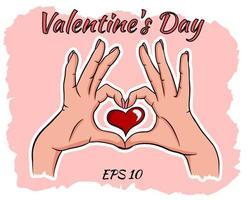 två händer som gör ett hjärtatecken. vektor