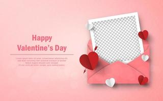 Herzformpapier und leerer Fotorahmen mit Umschlag, glücklicher Valentinstag vektor