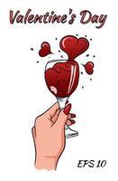 kvinnlig hand med ett glas vin vektor