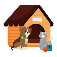 söt hund och katt med trähus isolerad ikon vektor