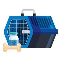 Haustier tragen Box mit Flasche Hund Medizin und Knochenspielzeug vektor