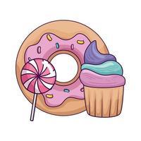 Cupcake mit Donut und Lutscher vektor