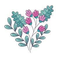 Zweig mit Blumen und Blättern isolierte Ikone vektor
