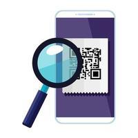 smartphone-enhet med skanningskod qr och förstoringsglas