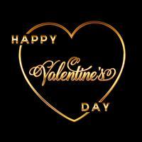 Guld Valentinsdag hjärta bakgrund med dekorativ text