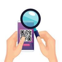 händer med smartphone med skanningskod qr och förstoringsglas