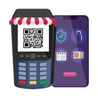 qr-kod inuti datafon och smartphone-vektordesign vektor