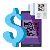 QR-Code-Papier und Smartphone-Vektor-Design